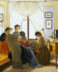Odoardo Borrani, Cucitrici di camicie rosse, 1863.