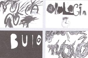 """Laboratorio di poesia disegnata, Comune di Roma, 1982. Da """"La lettera uccide""""."""