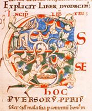 """Scena di vendemmia, miniatura dei """"Moralia in Job"""", di San Gregorio Magno."""
